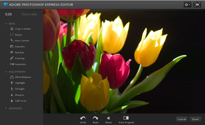 Photoshop Express online.