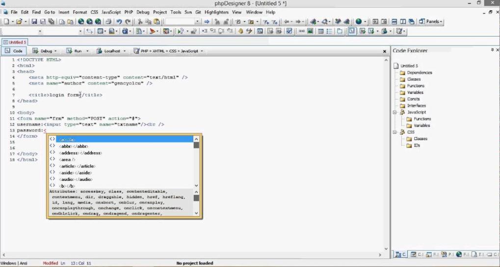 Phần mềm thiết kế website PHPdesigner